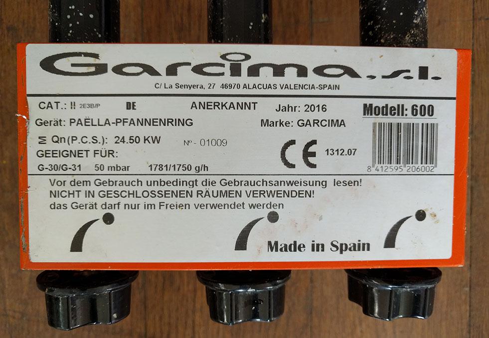 Réchaud gaz Garcima 60cm 24.5kw